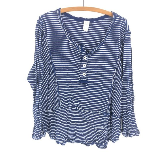 Free People Tops - We The Free | Boho Striped Blue Top Sz XS